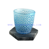 Wholesale 170ml New Design Translucent Tumbler Blue And White Horn Glass Candle Container