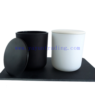 480ml Black White Frosted Glass Jar for Candle with Black White Ceramic Lids
