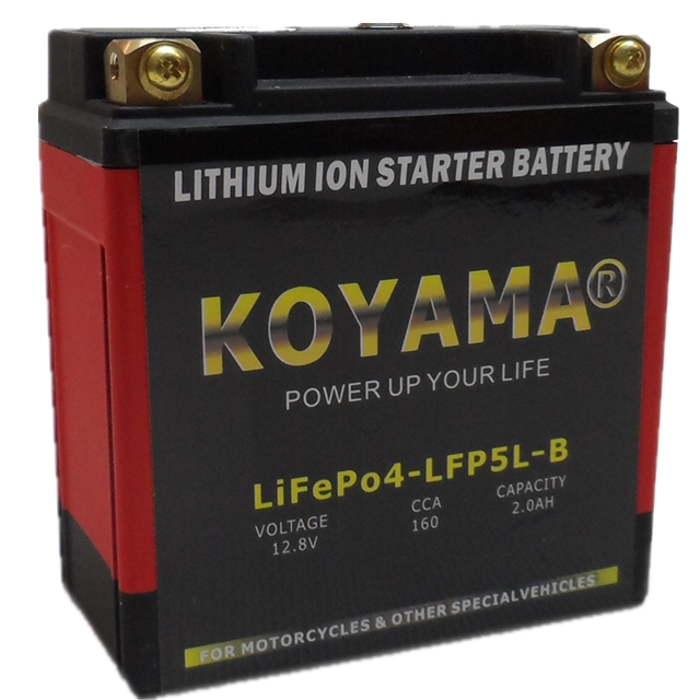 12.8V 2ah LiFePO4 Power Lithium Motorcycle Battery LFP5L-B