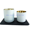 Wholesale 8oz 13oz gold electroplated frosted and white color glass candle holders with wooden lids