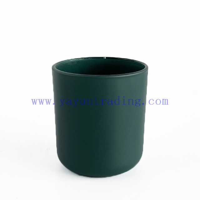 Customized luxury 8oz empty matte green glass candle jar with lid
