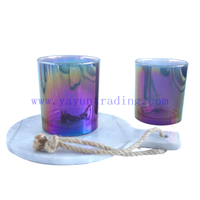 400ml Flat Translucent Electroplated Shiny Glass Candle Holder