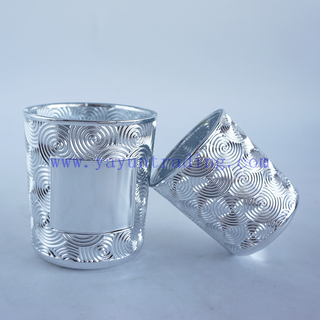 190ml/380ml Electroplated Round Empty Silver Glass Candle Container