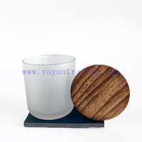 Classical Color Sprayed Matte White Glass Candle Vessel With Wooden Lids