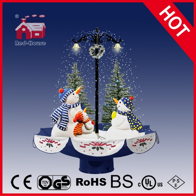 (118030U075-3S-BS) Snowing Christmas Decorations with Umbrella Base