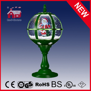 (LT30059D-GG10) Santa Clasu Waving Polyresin Decoration Round Tabletop Lamp
