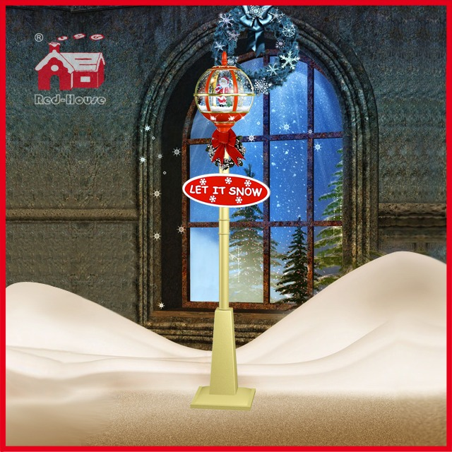 (LV30175D-RJJ11) Fashional Gold and Red Street Decoration Light Santa Claus Inside