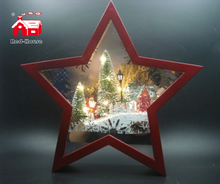 Christmas Decorative Star Frame Music Box As Led Home Decoration with with Atificial Snow And Mini Led Street Light Scene