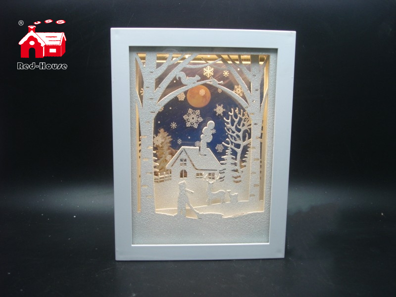 Christmas Decorative Small Rectangle Frame Music Box As Led Home Decoration with Snow Flake Moving From Christmas Decoration Supplies