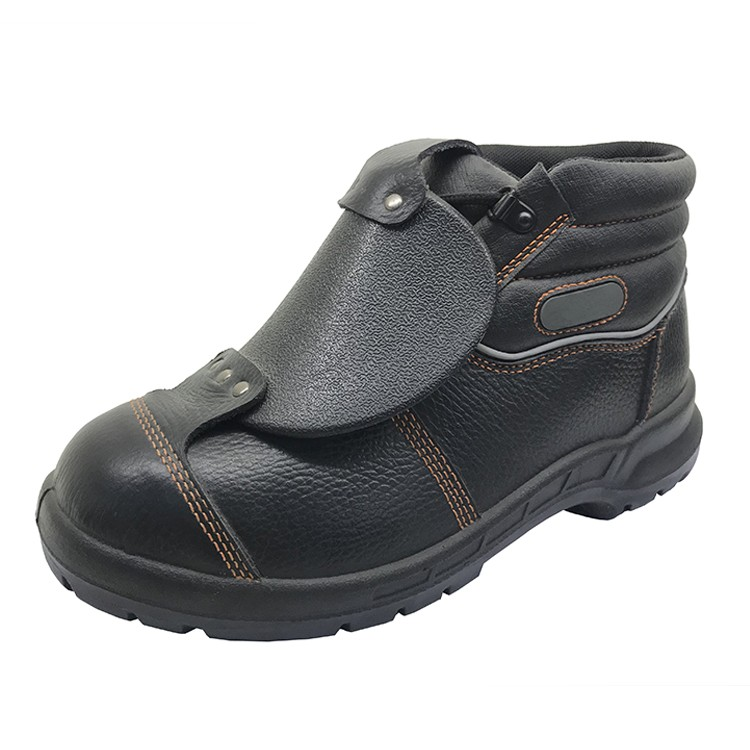 PU injection protective leather steel toe cap welding safety shoes for welders