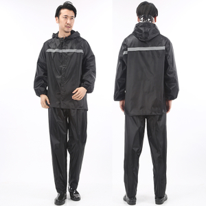Black Oxford Fabric PVC Coating Rainsuits Water Proof Detachable Hood Adult Rain Suit for Men