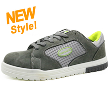Slip resistant suede leather fiberglass toe casual safety sport shoes