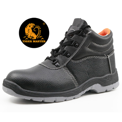 High ankle oil resistant PVC injection industrial safety shoes steel toe cap