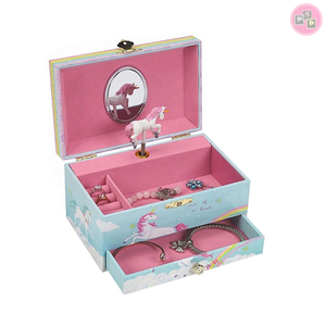 Personalised Leather Wooden Music Musical Twirling Dancing Unicorn Jewellery Music Box