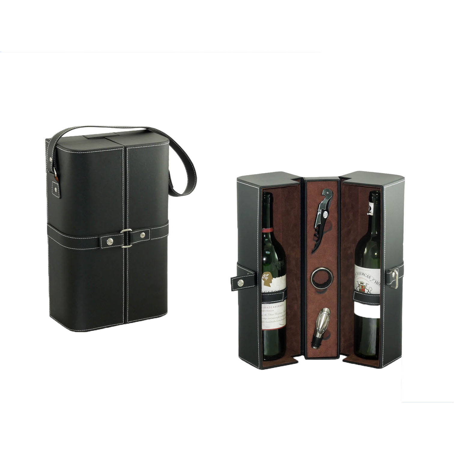 Wine Box Manufacturer Brown PU leather wine glasses boxes