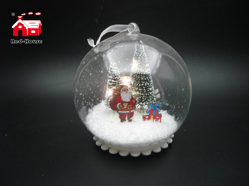 Christmas Decorative Hanging Led Lights Snow Globe with Santa Claus And Snow Flake Scene