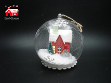 Christmas Decorative Hanging Led Lights Snow Decorative Glass Globe with Christmas Ornaments Scene