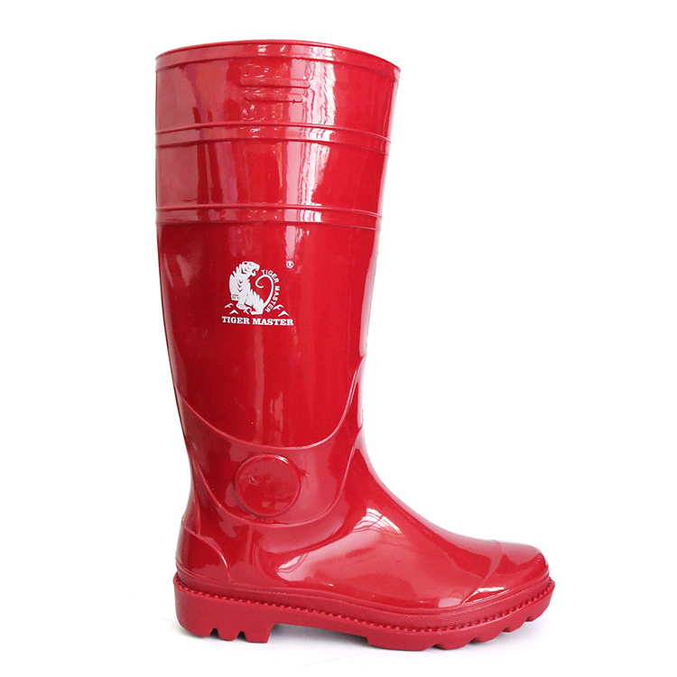 103-RR Lightweight non safety red glitter pvc rain boots