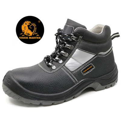 2019 Best selling black leather steel toe cap work shoes boots