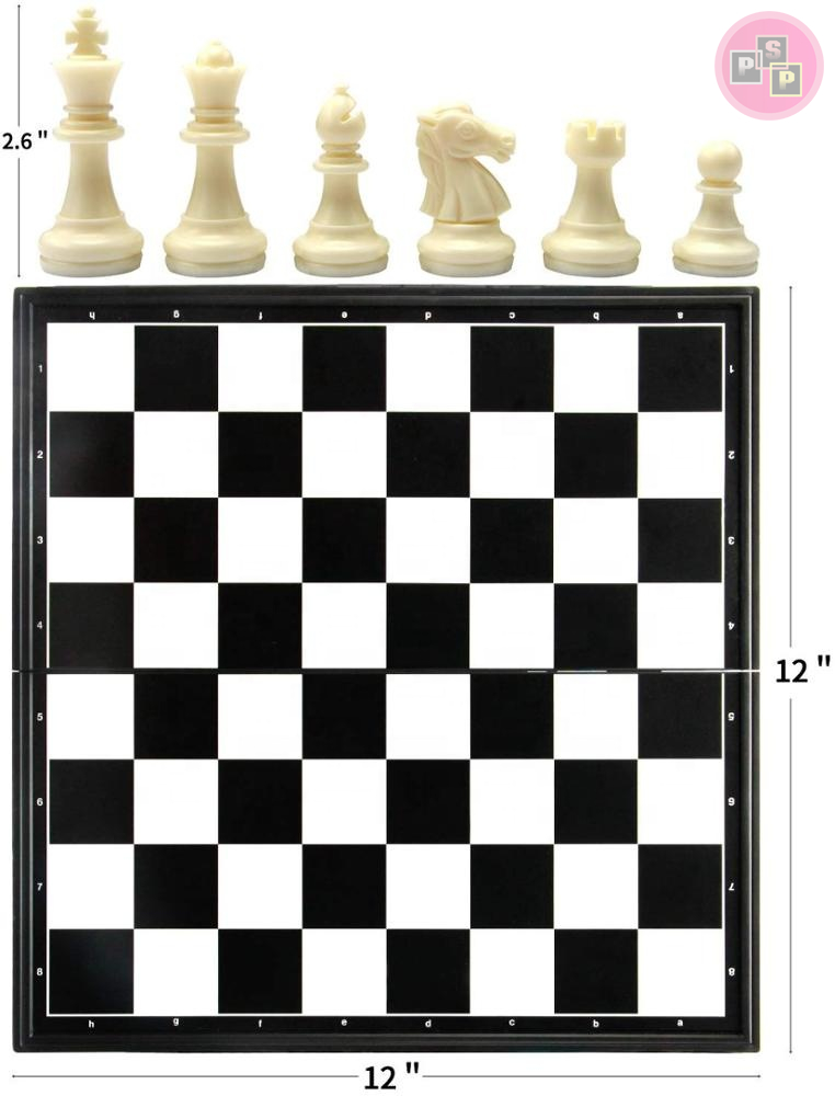 "Wooden Chess Board Game Checker Chess And Backgammon Board 3-in-1 12"" Folding Travel Magnetic"