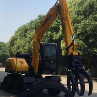 New Product 8 ton Wheel Excavator with Optional Grapple