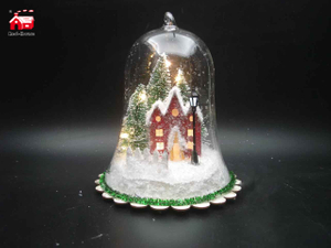 Christmas Glass Decoration in Bell Shape with Led Scene inside Power by 3*AA Batteries