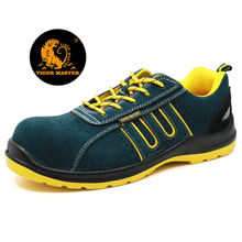 Suede leather plastic toe metal free fashionable sport type safety shoes for work men