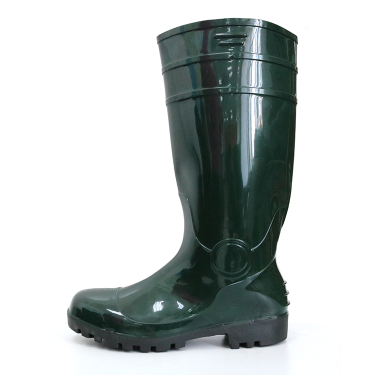 F30GB Green steel toe cap plastic glitter pvc safety rain boot