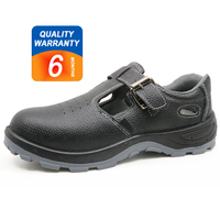 352 Black leather steel toe cap anti static summer sandal safety shoes