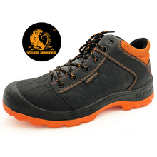 Oil resistant black leather safety shoe fiber toe