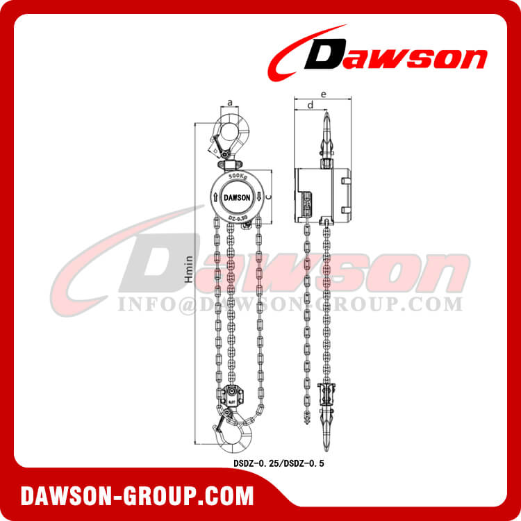 250KG 500KG 1000KG Aluminum Alloy Chain Hoist, 0.25 Ton 0.5T 1 Ton Chain Block for Construction Site Lifter