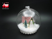 Christmas Decorative Hanging Led Lights Snow Globe with Christmas Ornaments Scene