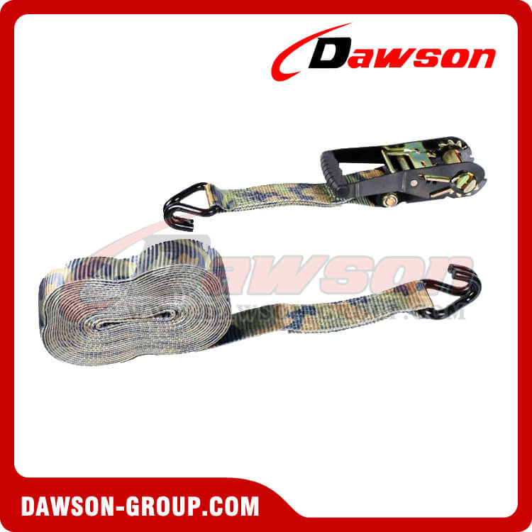 2'' x 27' Camo Ratchet Strap with Double J Hook- china manufacturer supplier - Dawson Group