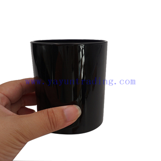 Wholesale Empty 300ml 10oz Shiny Black Glass Candle Jar