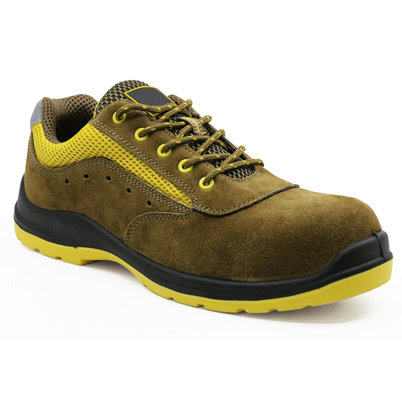 Yellow suede leather plastic toe cap workshop safety shoes european