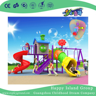 High Quality Kindergarten Purple Plastic Slide And Swing Combination Set (BBE-A41)