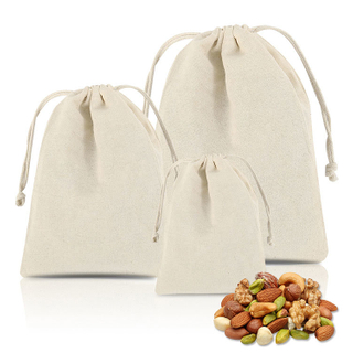 Eco-Friendly Biodegradable Canvas Cotton Drawstring Shopping Goody Bag for Advertising Gifts