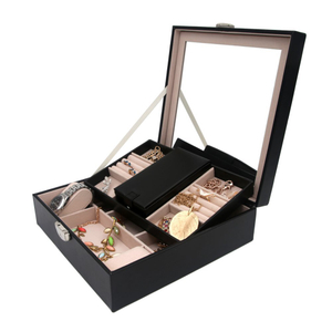 Custom Glass Double Layers Black Leather Necklace Rings Jewelry Box Packaging with Lock
