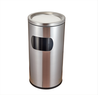 Rounded Stainless Steel Trash can with side open window