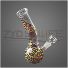 Round Beaker Smoking Water Pipe Decorated with Gold Thread
