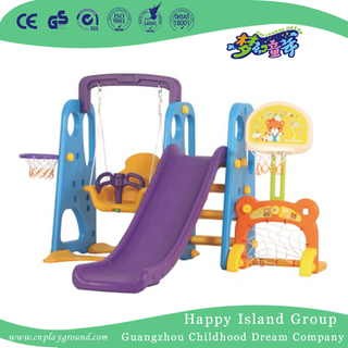 Children Play Plastic Small Combination Slide With Swing Playground (ML-2014302)