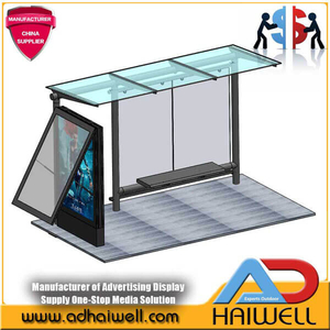 Outdoor Bus Stop Shelter Advertisement Light Box