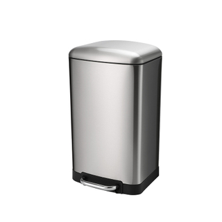 Satin Hydraulic Buffer Rectangle Pedal trash can (KL-6106)
