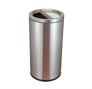 Rounded Stainless Steel Trash can with Flip lid