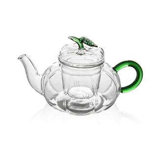 GTP0301 Pumpkin glass teapot with tea leaf lid 700ml