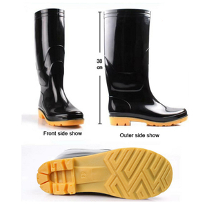 SQ-BY very cheap lightweight black pvc work glitter rain boot