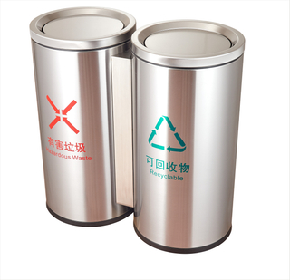 2in1 Rounded Stainless Steel Gabage bin with plastic big capacity inner bin