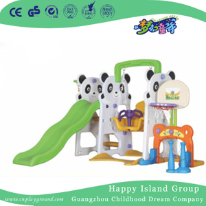 Lovely Kindergarten Plastic Small Panda Slide With Swing (ML-2014604)