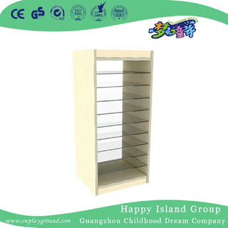 Kindergarten Wooden Shelf For Drawing Paper Cabinet (HJ-4404)