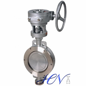 A351 CF8 Gear Operated Wafer Type Flow Control Triple Offset Butterfly Valve